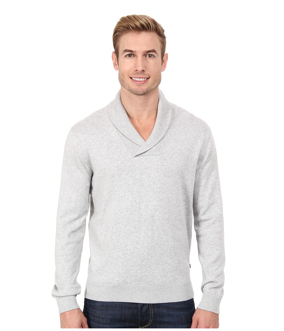 Nautica - 12GG Shawl Pullover Jersey Sweater (Ice Grey Heather) Men's Long Sleeve Pullover