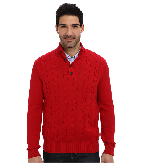 Nautica - 7GG Botton Mock Neck Cable Sweater (Nautica Red) Men