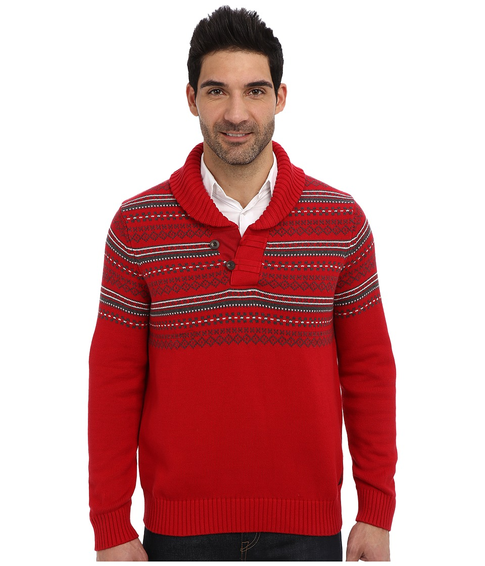 Nautica - 7GG Fairisle Shawl Jersey Sweater (Nautica Red) Men's Sweater