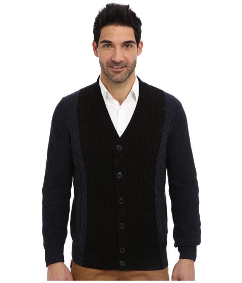 Nautica - 5GG Cable Cardigan Sweater (Classic Navy) Men