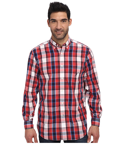 Nautica - L/S Large Red Plaid Poplin Woven Shirt (Sailor Red) Men's Clothing