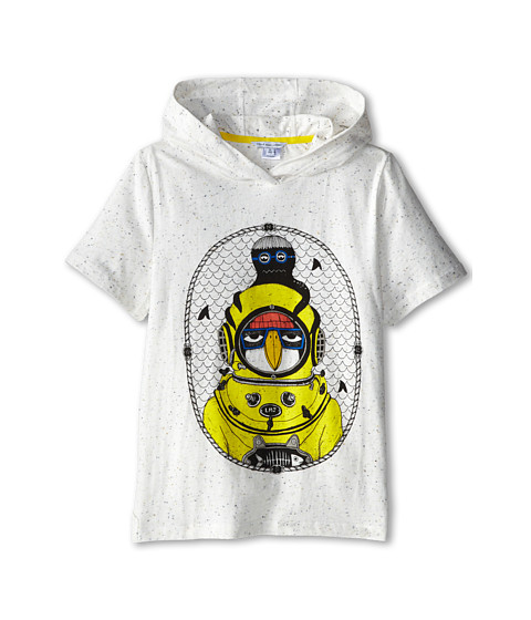 Little Marc Jacobs - S/S Hooded Tee with Seagull Character (Big Kid) (Off White) Boy