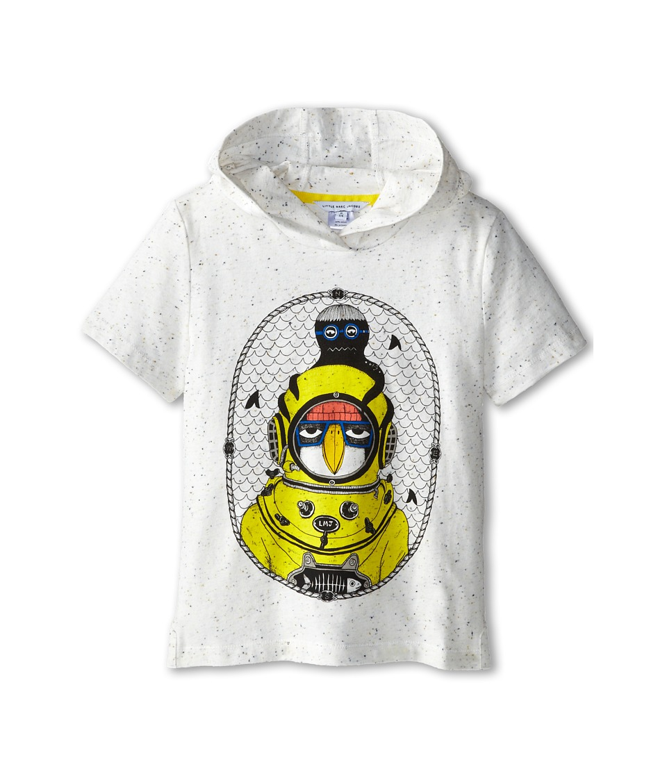 Little Marc Jacobs - S/S Hooded Tee with Seagull Character (Little Kid/Big Kid) (Off White) Boy's T Shirt