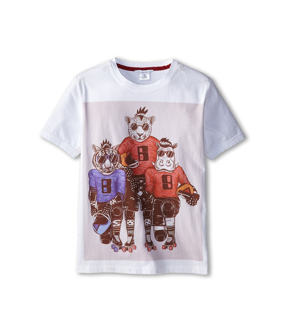 Little Marc Jacobs - S/S Tee with University Graphics (Big Kid) (White) Boy's T Shirt