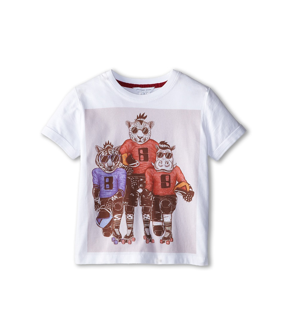 Little Marc Jacobs - S/S Tee with University Graphics (Little Kid/Big Kid) (White) Boy's T Shirt