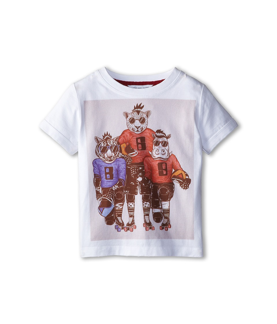 Little Marc Jacobs - S/S Tee with University Graphics (Toddler/Little Kid) (White) Boy's T Shirt