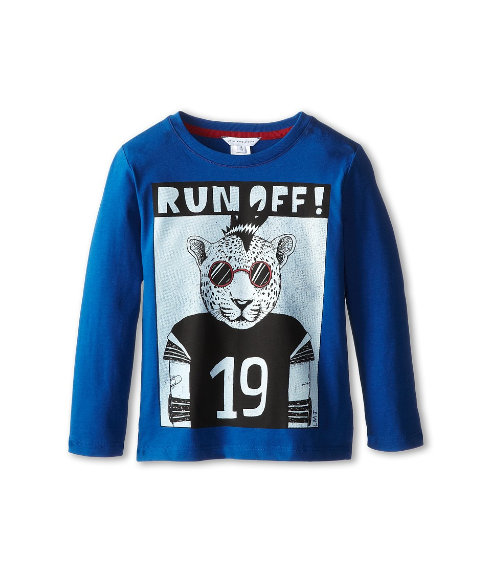 Little Marc Jacobs - L/S Tee with University Graphic (Little Kid/Big Kid) (Med Blue) Boy's Long Sleeve Pullover