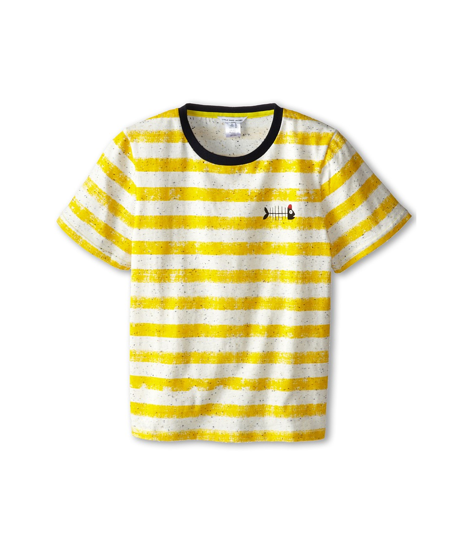 Little Marc Jacobs - S/S Striped Ringer with Fishbone (Big Kid) (Stripe) Boy's Clothing