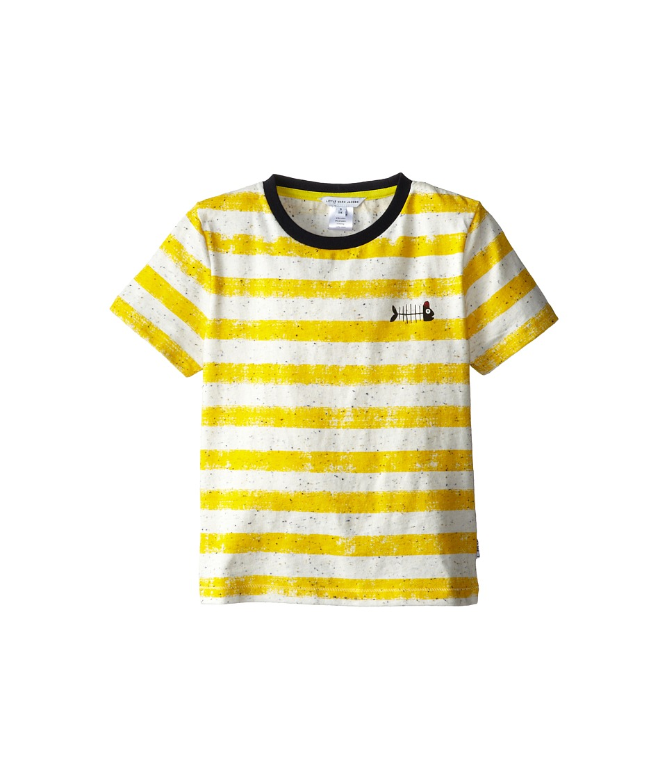Little Marc Jacobs - S/S Striped Ringer with Fishbone (Little Kid/Big Kid) (Stripe) Boy's Short Sleeve Pullover