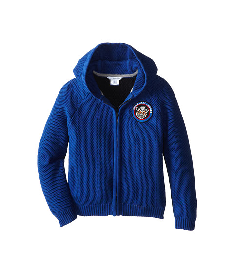 Little Marc Jacobs - Hooded Zip Up Cardigan Patchwork (Little Kid/Big Kid) (Blue) Boy's Sweater