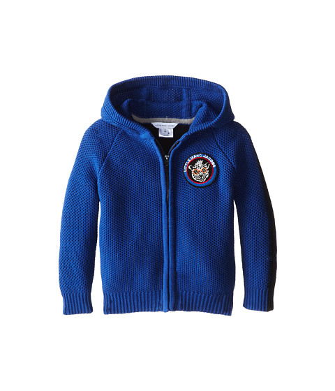 Little Marc Jacobs - Hooded Zip Up Cardigan Patchwork (Toddler/Little Kid) (Blue) Boy's Sweater