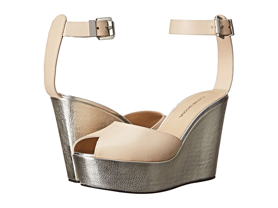 CoSTUME NATIONAL - Metallic Wedge Sandal (Nude) Women's Dress Sandals