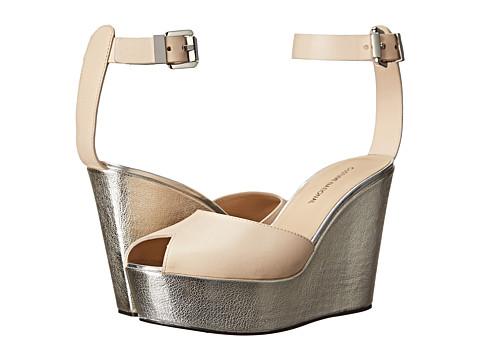 CoSTUME NATIONAL - Metallic Wedge Sandal (Nude) Women's Dress Sandals