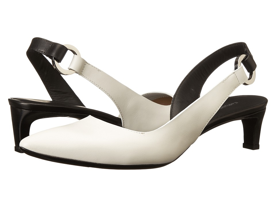 CoSTUME NATIONAL - Color Block Slingback Kitten Heel (White/Black) Women's Sling Back Shoes