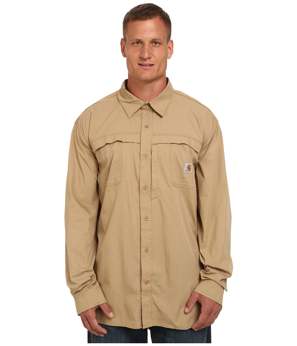 Carhartt - Big Tall Force Mandan Solid L/S Woven (Dark Khaki) Men's Long Sleeve Button Up