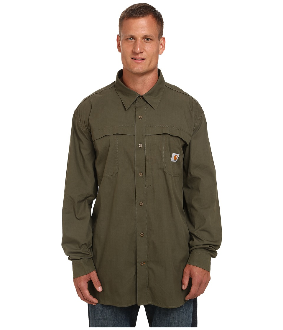 Carhartt - Big Tall Force Mandan Solid L/S Woven (Moss) Men's Long Sleeve Button Up