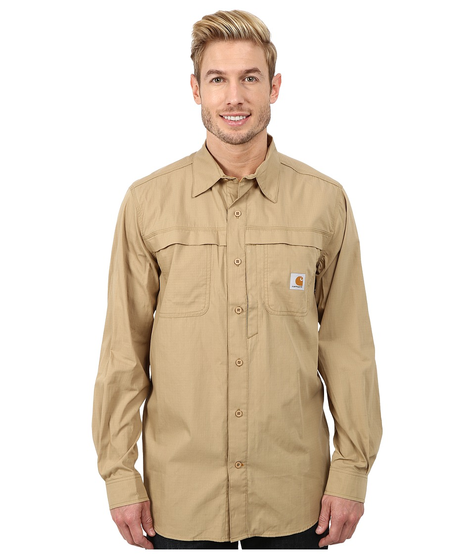Carhartt - Force Mandan Solid L/S Shirt (Dark Khaki) Men's Long Sleeve Button Up