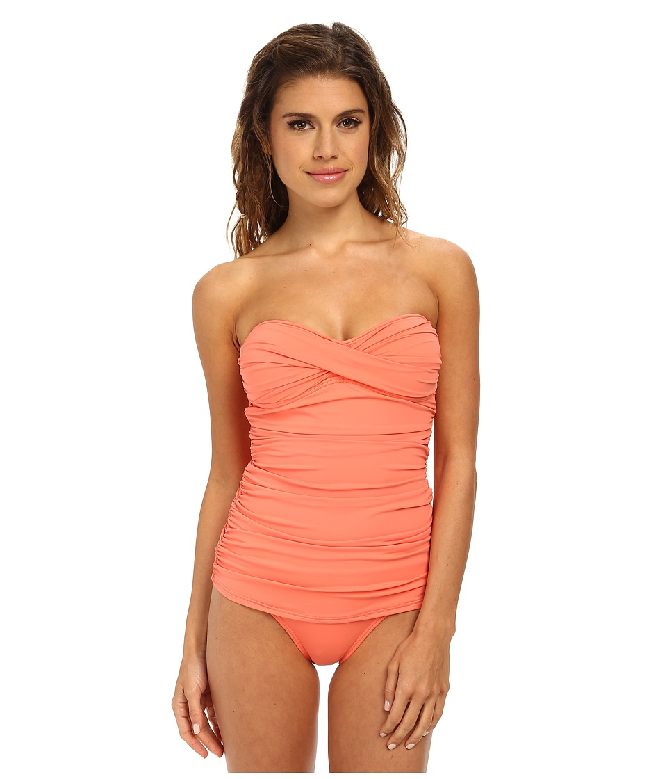 Tommy Bahama - Pearl Solids Shirred Twist Front Bandeau Cup One-Piece (Coral) Women's Swimsuits One Piece
