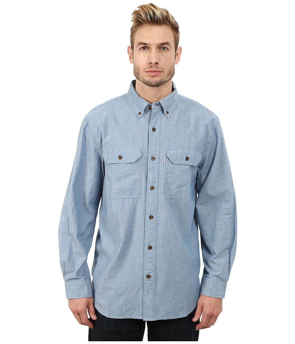 Carhartt - Fort Solid L/S Shirt (Blue Chambray) Men's Long Sleeve Button Up