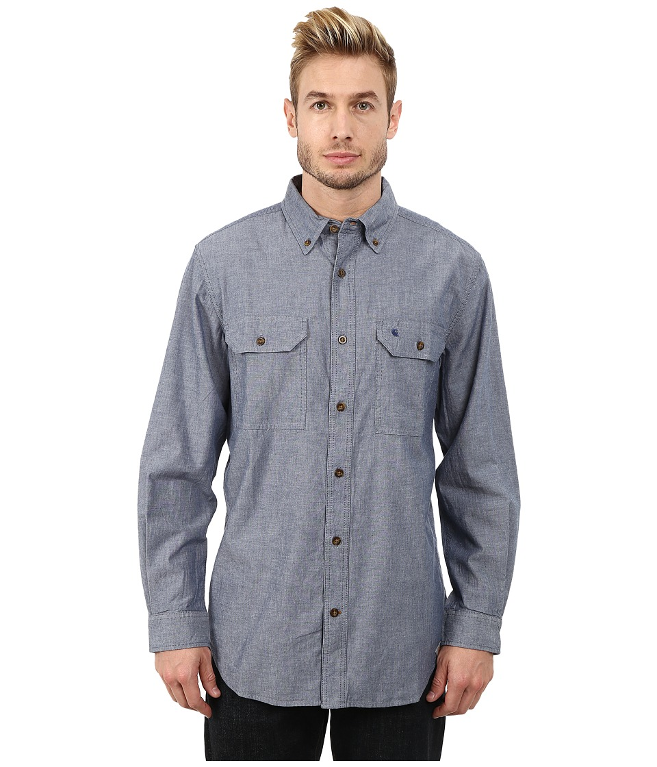 Carhartt - Fort Solid L/S Shirt (Denim Blue Chambray) Men's Long Sleeve Button Up