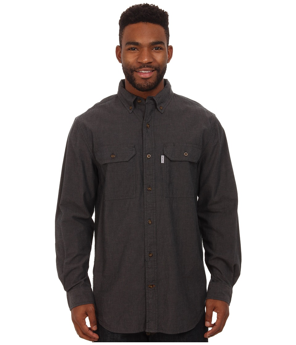 Carhartt - Fort Solid L/S Shirt (Black Chambray) Men's Long Sleeve Button Up