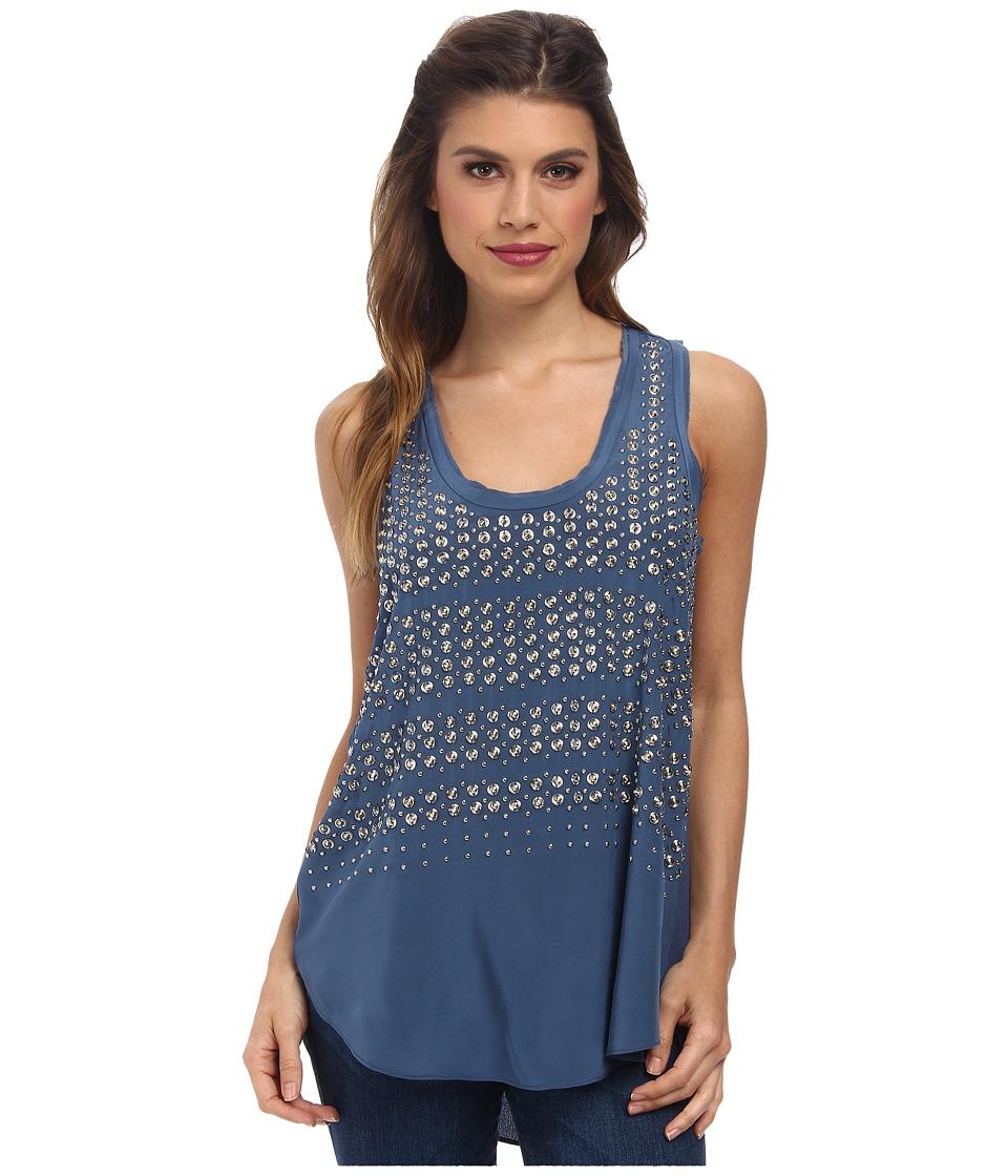 Rebecca Taylor - Sleeveless Studded Tank Top (Blue) Women's Sleeveless