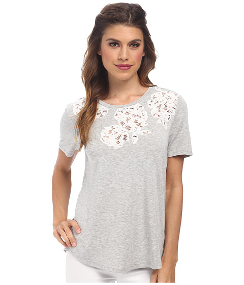 Rebecca Taylor - Short Sleeve Flower Lace Tee (Heather Grey) Women's T Shirt