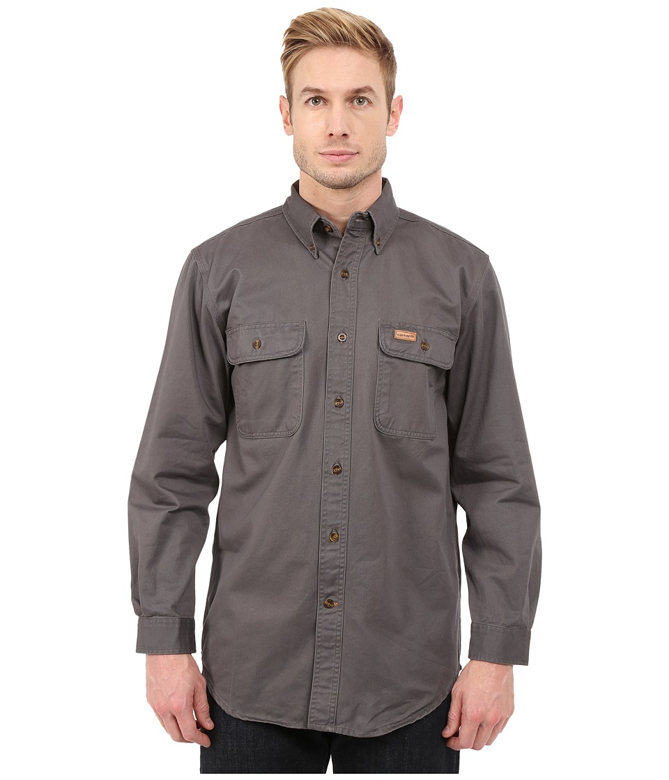 Carhartt - Sandstone Oakman Work Shirt (Gravel) Men's Short Sleeve Button Up
