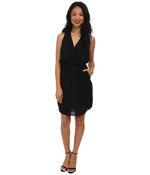 Rebecca Taylor - Sleeveless Crepe Gauze Dress (Black) Women