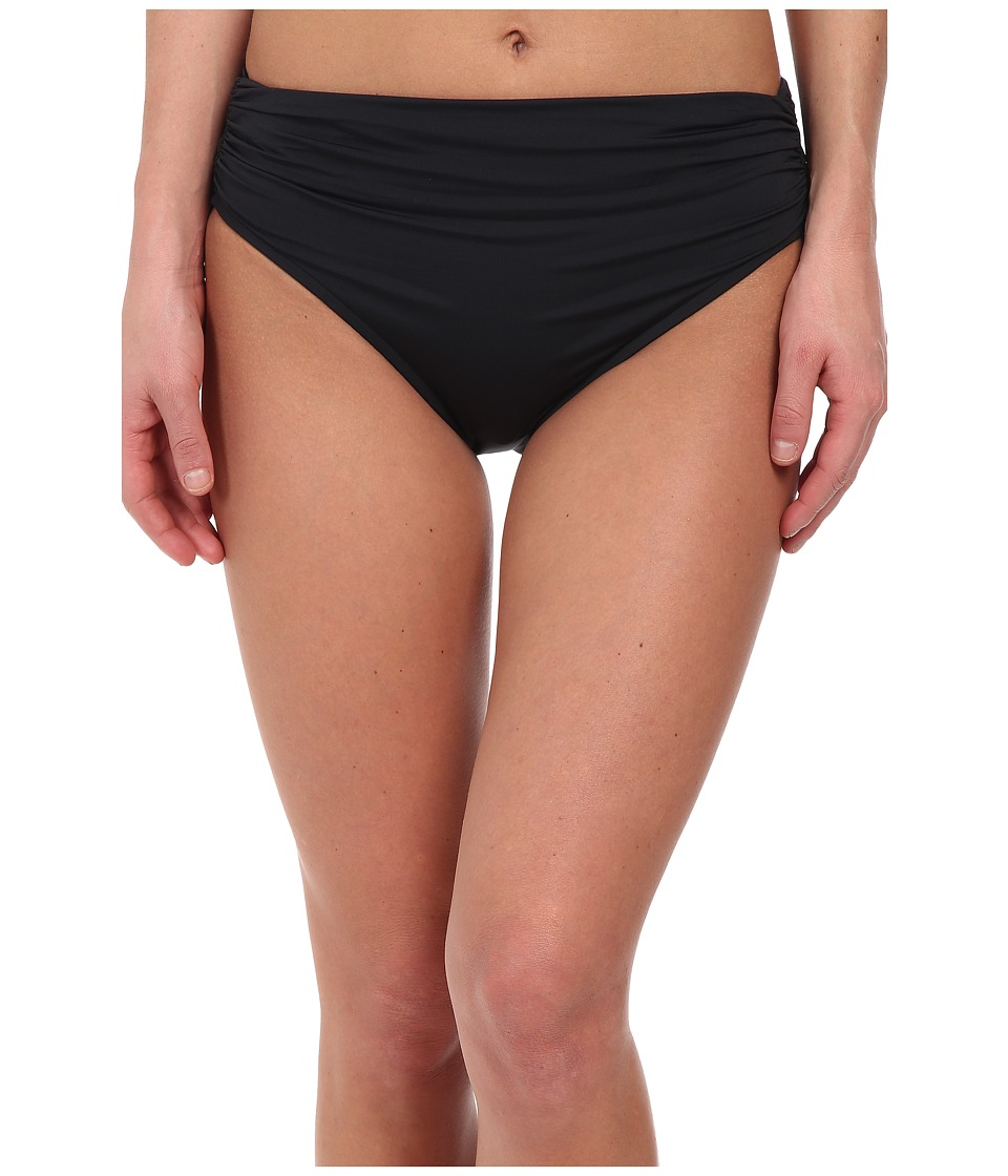 Badgley Mischka - Solid High Waist Brief (Black) Women's Swimwear