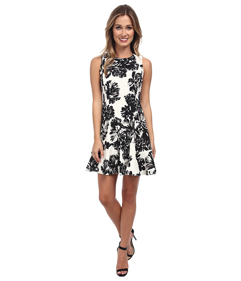 Rebecca Taylor - Sleeveless Splashy Flower Flippy Dress (Black/White) Women's Dress