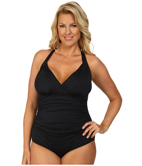 Badgley Mischka - Plus Size Shirred Surplice Mio (Black) Women's Swimsuits One Piece