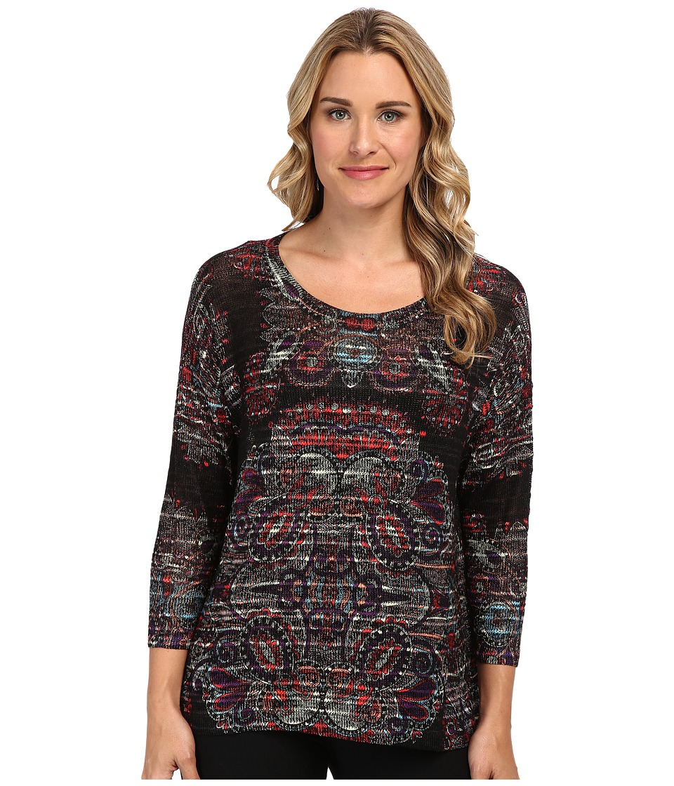 Nally & Millie - Scarf Print Sweater Top (Red Multi) Women's Sweater