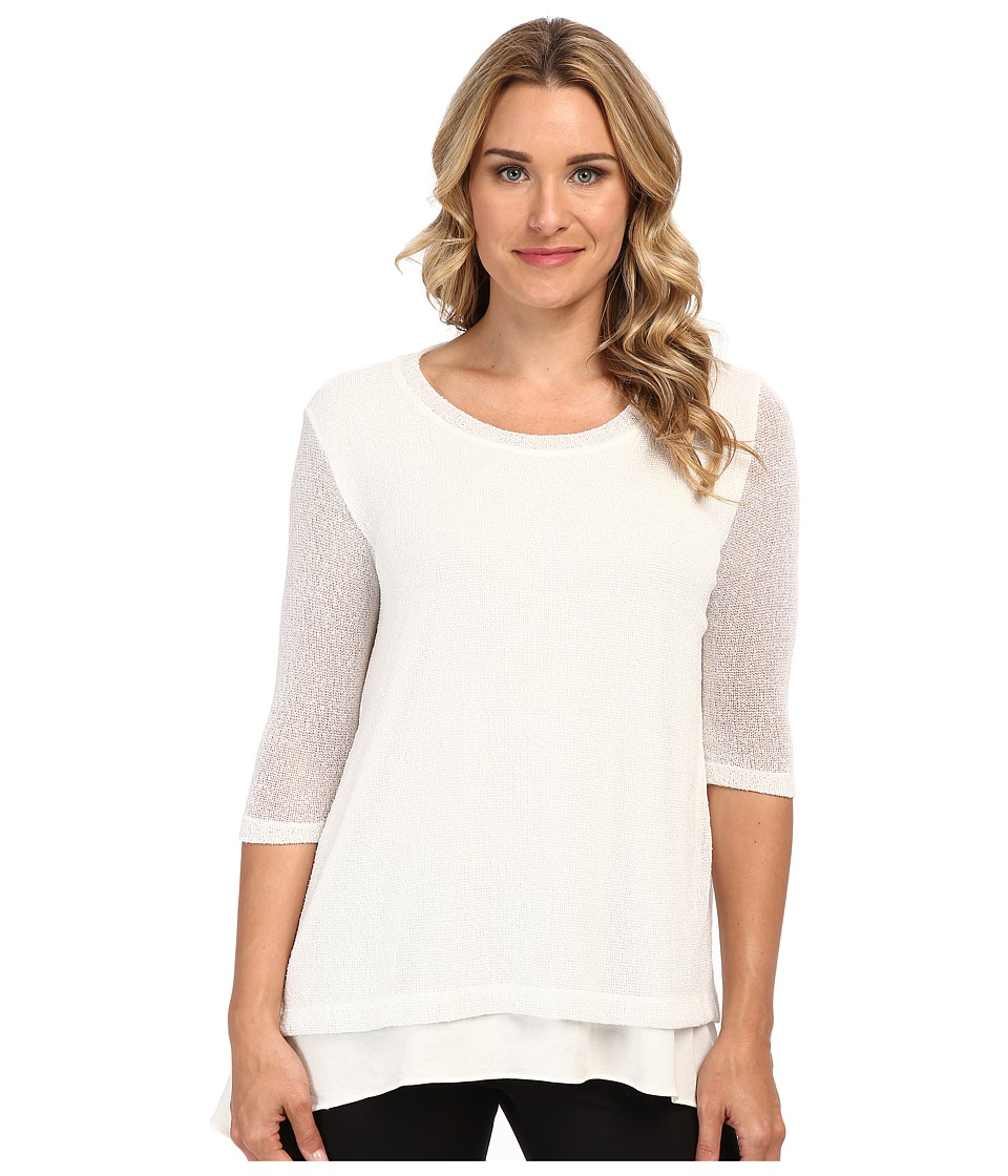 Nally & Millie - Double Layer 3/4 Sleeve Open Knit Tunic (Cream) Women's Long Sleeve Pullover