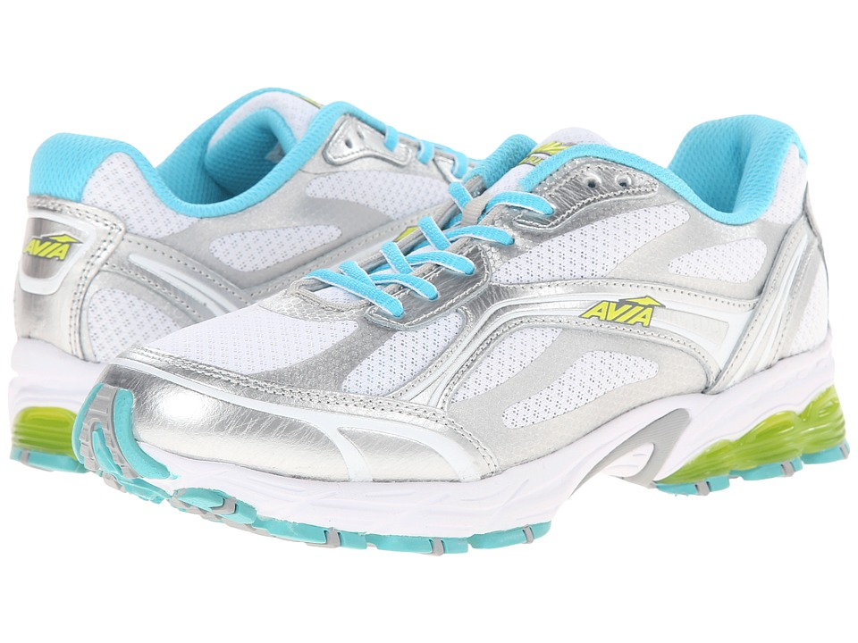 Avia Avi-Pulse (White/Chrome Silver/Winter Blue/Yellow Glow/Steel Grey) Women