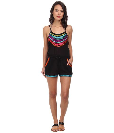 Trina Turk - Baja Embroidery Covers Romper Cover-Up (Black) Women