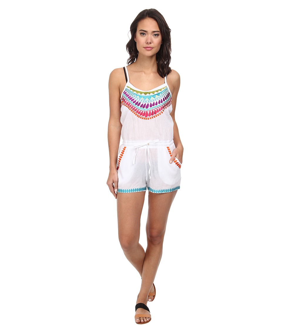 Trina Turk - Baja Embroidery Covers Romper Cover-Up (White) Women