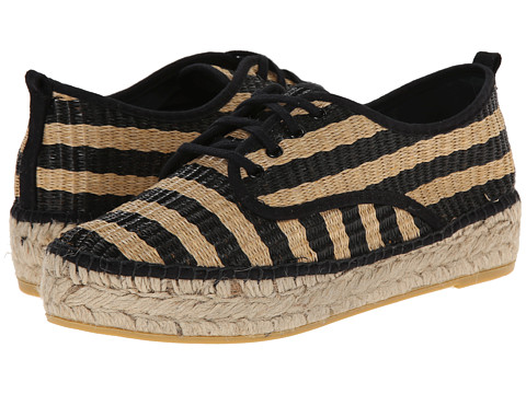 Loeffler Randall - Alfie (Black/Natural/Black Striped Woven Raffia) Women's Lace up casual Shoes