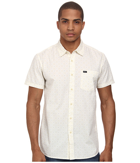 RVCA - Satisfaction S/S (Vanilla) Men's Short Sleeve Button Up
