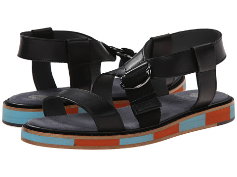 Viktor & Rolf - Calf Leather Buckle Sandal (Black) Men