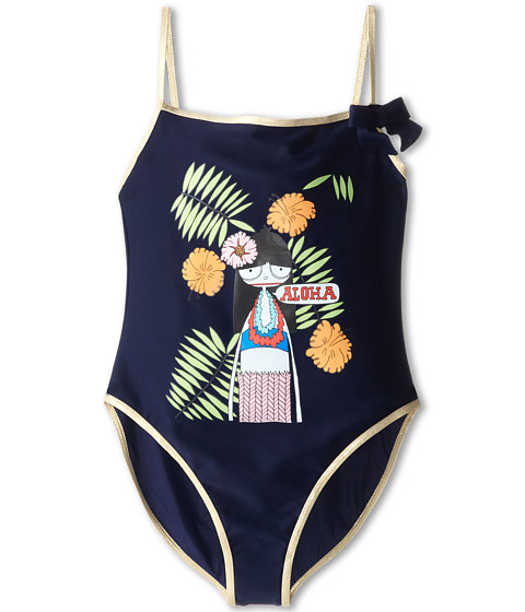Little Marc Jacobs - Miss Marc Printed One-Piece Swim Suit (Big Kid) (Classic Blue) Girl's Swimsuits One Piece