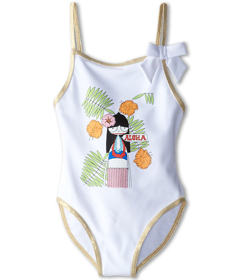 Little Marc Jacobs - Miss Marc Printed One-Piece Swim Suit (Toddler/Little Kid) (White) Girl's Swimsuits One Piece