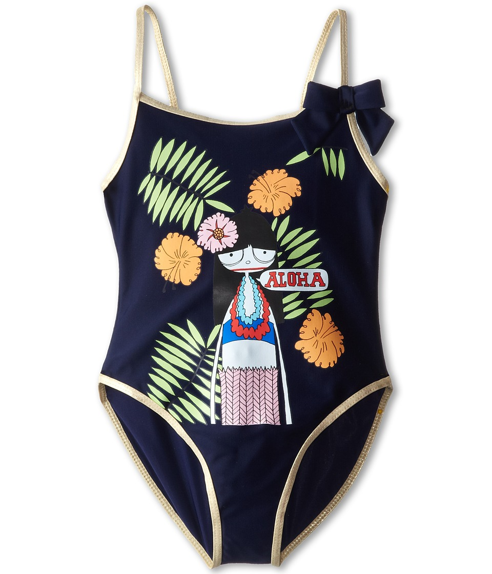 Little Marc Jacobs - Miss Marc Printed One-Piece Swim Suit (Little Kid/Big Kid) (Classic Blue) Girl's Swimsuits One Piece