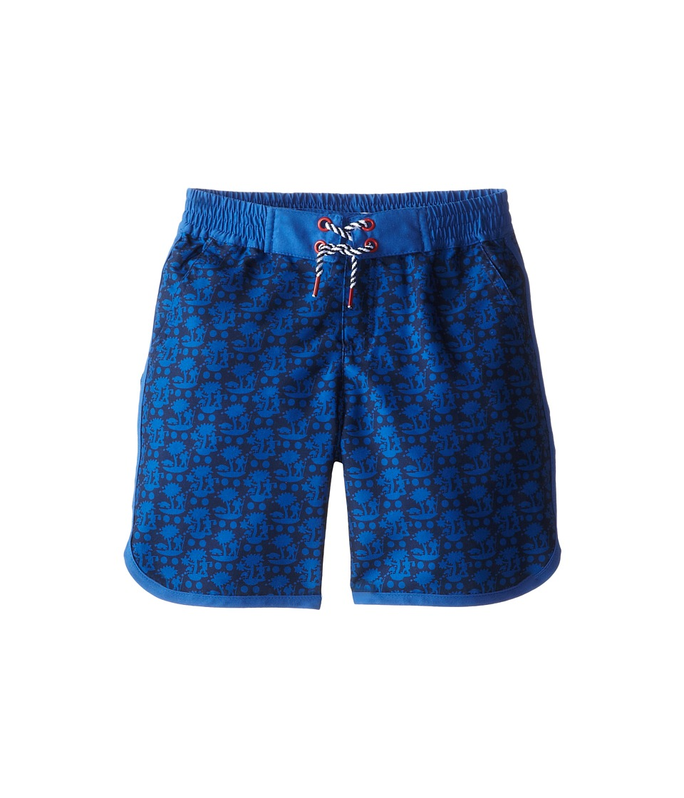 Little Marc Jacobs - Printed Woven Swim Trunks (Little Kid/Big Kid) (Med Blue) Boy's Swimwear