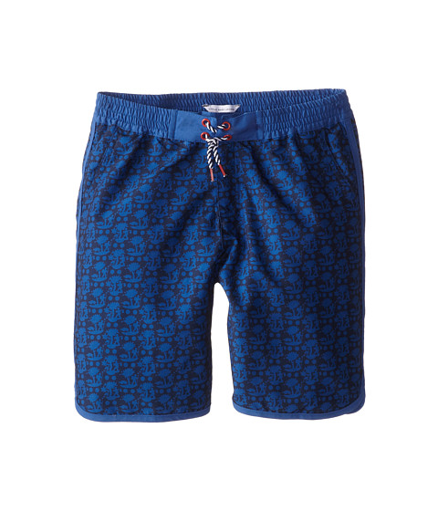 Little Marc Jacobs - Printed Woven Swim Trunks (Big Kid) (Med Blue) Boy's Swimwear