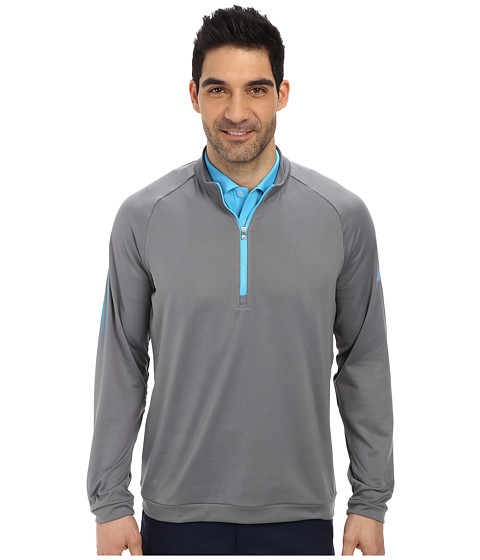 adidas Golf - 3 Stripes 1/2 Zip (Vista Grey/Intense Teal) Men