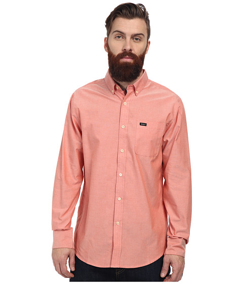 RVCA - That'll Do Oxford L/S (Red Clay) Men's Long Sleeve Button Up