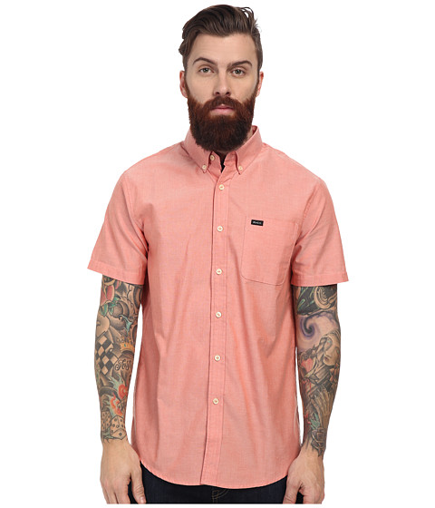 RVCA - That'll Do Oxford S/S (Red Clay) Men's Short Sleeve Button Up