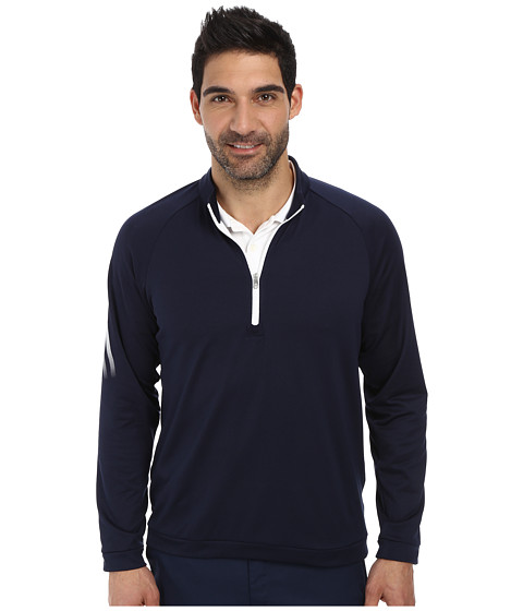 adidas Golf - 3 Stripes 1/2 Zip (Navy/White) Men's Long Sleeve Pullover