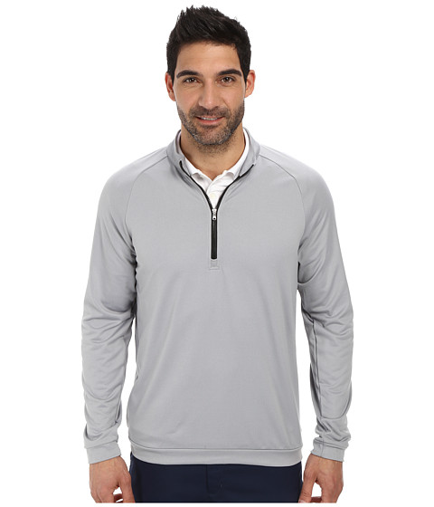 adidas Golf - 3 Stripes 1/2 Zip (Mid Grey/Black) Men's Long Sleeve Pullover